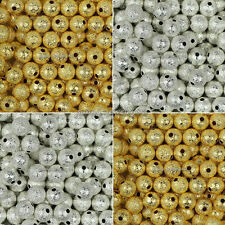 Wholesale Silver/Gold Plated Round Brass Stardust Spacer Beads 4mm,6mm,8mm,10mm