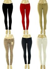 New Women Ponte Skinny Stretch Jeans Jeggings Black Red White Pants S M L XL