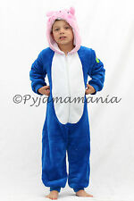 KIDS Boys Winter Fleece Onesie Pyjamas Peppa Pig George Blue - sz 1 2 3 4 5 6