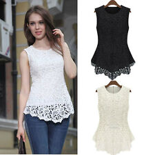 Sexy Ladies Casual Floral Lace Fit Slim Sleeveless Peplum Tank Top Shirt Blouse