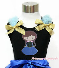 Princess Anna Blue Ruffle Gold Glitter Bow Baby Girl Black Top Shirt NB-10Year