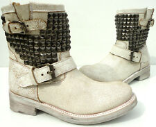 ASH Italia Titan studded leather ankle  Biker boots White/antic silver