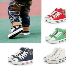 Kid Boy Girl Lace Up Canvas Sneaker Trainers Plimsolls Ankle High Top Boot Shoes