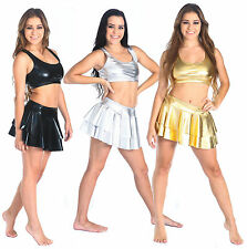 New Metallic Cheer Dance Skirt- Adult Sizes S, M, L, XL Gold, Silver and Black