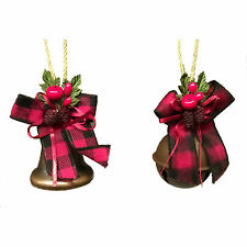 Gisela Graham Vintage Christmas Bells with Bows Decorations, Festive Copper