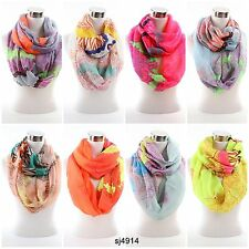 NEW Women's Girls Light Weight Pattern Neon Color Infinity Circle Scarf Scarves