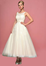 Sexy White or Ivory Wedding dress Bridal Gown Tea Length Size 6+8+10+12+14+16++