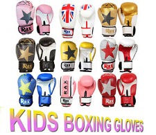 R A X Kids Boxing Gloves Punch Bag Sparring Training Mitts MMA 4oz 6oz 8oz