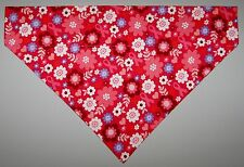 Pink Ribbons & Flowers Dog Bandana Scarf-Slide over Collar-Size Small to XLarge