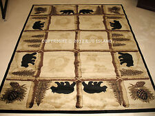 Lodge Cabin Rustic Bear Pine Brown Green Black Area Rug **FREE SHIPPING**