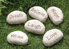 Vintage Home Garden Decoration Onament Message Stone Pebble Paperweight Sign