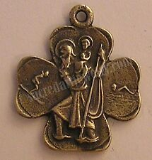 Catholic Medal Pendant St Christopher Clover Antique Sterling Bronze Replica 330