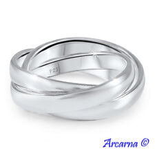 925 Sterling Silver 3 Band Russian Wedding Ring 3mm