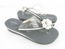 Calvin Klein Bonni Light Grey Flip Flop with Beaded Accent on Toe Womens New