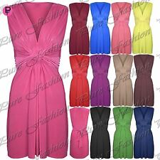 Womens Ladies Sleeveless Ruched V Neck Bow Knot Stretchy Bodycon Midi Dress Top