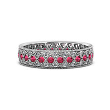 Ruby and Diamond Three Row Eternity Band 0.95ct tw-1.16ct tw 14K Gold