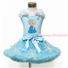 Princess Elsa Print Ruffle Bow Blue Top Light Blue Snowflake Girl Skirt Set 1-8Y