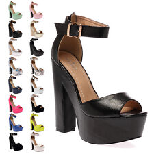 New Ladies Ankle Strap Womens Platform Open Toe High Heel Sandals Shoes Size 3-8
