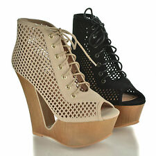 Laura05 Peep Toe Lace Up Cut Out Design Platform High Wedge Bootie Sandal