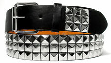 SILVER METAL STUDS BLACK LEATHER BELT FREE REMOVABLE BELT BUCKLE - S M L XL