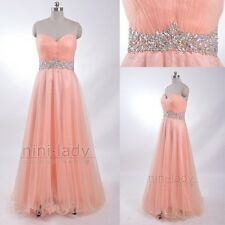 Coral Net Long Formal Women's Bridesmaid Dress Party Prom Evening Dress Size6-16