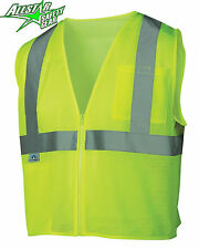 Hi Vis Lime Class 2 Safety Vest w/ Pockets MEDIUM LARGE XL 2XL 3XL 4XL 5XL