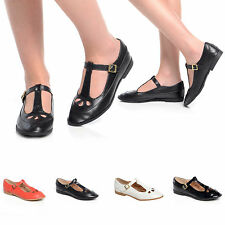 NEW FLAT T BAR ANKLE STRAP DOLLY SHOES MARY JANE CUT OUT FASHION GIRLS