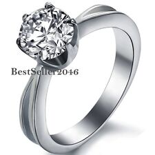 Stainless Steel 6mm Round CZ Solitaire Engagement Wedding Ring