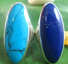 925 sterling silver LONG plain TURQUOISE Lapis Women ring size 7.5-8.5-9.5-10.5