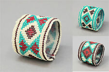 "Aztec Native Bracelet Seed Bead Ivory Turquoise Tribal Elastic 2"" Wide Stretch"