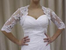 IVORY WHITE BRIDAL LACE BOLERO SHRUG JACKET FOR WEDDING DRESS 8,10,12.14