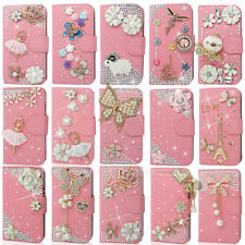 Pink Bling Diamond Flip Wallet Leather Case For iphone Sony LG HTC Nokia Etc.