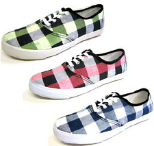 LADIES CANVAS LACE UP CHECKERED PATTERN TRAINER/ PUMPS/ SHOES CV07