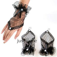Black/White/Pink/Red Lace Gloves Fingerless Fancy Dress Wedding Party Vamp Goth