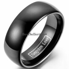 8mm Black Polished Dome Men's Tungsten Carbide Ring Comfort Fit Wedding Band