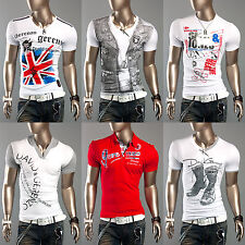 Nextstyle24 Mens Casual Slim Fit Short Sleeve Designer T-shirts Polo Shirts Tops