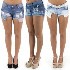 Womens New Denim Hot Pants Frayed Studded American Flag