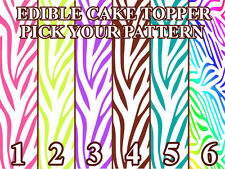 ZEBRA PATTERN COLORS Edible image Cake toppers cupcakes, strips and more...