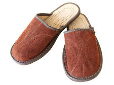 Mens Black Brown Leather Slippers  Size 7 8 9 10 11 12 13 Luxury Gift Present