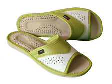 Green womens ladies 100% natural leather slippers mules flip-flop sandals