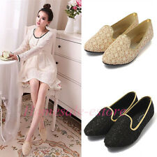Women Lace Surface Hollow Out Low Heel Dolly Pointed Toe Flat Loafer Pumps Shoes