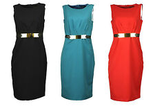 MISS SELFRIDGE Womens Black Navy Blue Red Gold Buckle Shift Business Party Dress