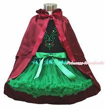 Rhinestone Princess Anna Black Top Girl Green Skirt Wine Red Costume Cape 1-8Y