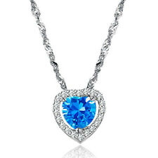Womens Ocean Blue Love Heart Shape Pendant Necklace in Clear or Blue Color