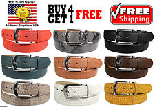 MEN FAUX SNAKE LIZARD SKIN GENUINE LEATHER STITCHED BELT w BELT BUCKLE