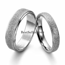 Silver Frosted Dome Stainless Steel Couples Promise Engagement Ring Weeding Band