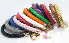 2014 Fashion Style Women MK Candy Color PU Handwoven Pendant Bracelet 14 Color