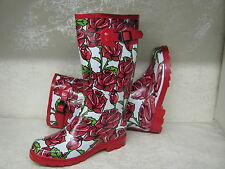Ladies Wellies Boots X1042 Funky White With Red Rose Print