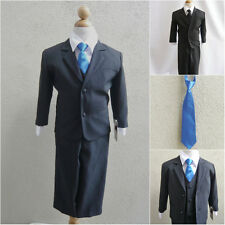 Boy black formal suit with royal/sapphire blue long tie wedding graduation party