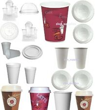 DISPOSABLE CUPS Paper Plastic Poly with/out Lids for Coffee,Tea,Hot Cold Drinks